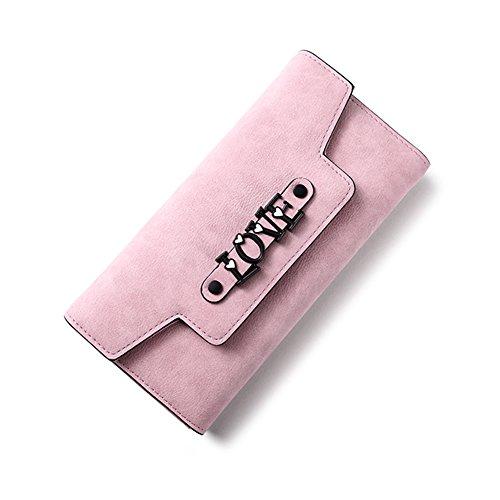 Woolala Donna Portafoglio Sweet Love Nubuck Grande Capacità Multi Slots Slot Portachiavi Portachiavi Frizione Lunga Borsa, Nero Pink