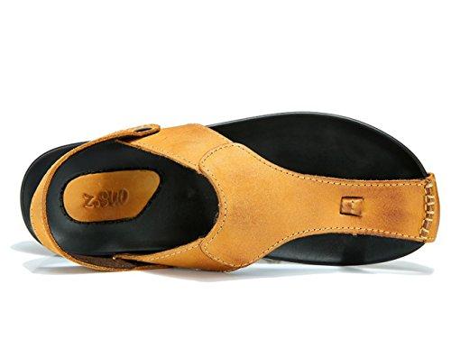 Insun Herren Zehentrenner Slingback Normal Flach Sandalen Flip Flops Sandalen Gelb