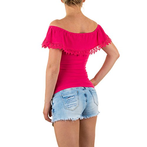 Damen Top, SCHULTERFREIES SPITZEN TOP, KL-J226 Pink
