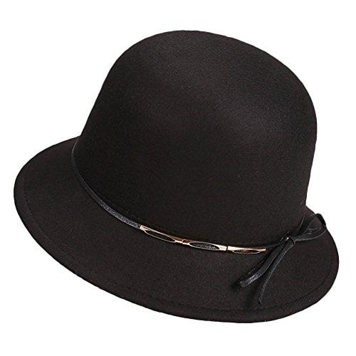 Sitong mode ext¨¦rieur de la couleur des femmes solides chapeau de feutre de laine Noir