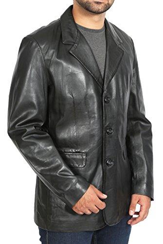 A1 FASHION GOODS Herren Schwarzes Blazer Lederjacke Klassisches Lässiges Fitted Weiches Leder Mantel - Jim (XXL - EU 54)