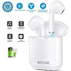 roycase Auriculares Inalámbricos In-Ear, Estuche de Carga, Bluetooth V4.2, Manos Libres con Micrófono, Compatible con iPhone y Android, Color Blanco