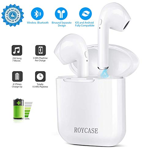 roycase Auriculares Inalámbricos In-Ear, Estuche de Carga, Bluetooth V4.2, Manos Libres con Micrófono, Compatible con iPhone y Android, Color Blanco