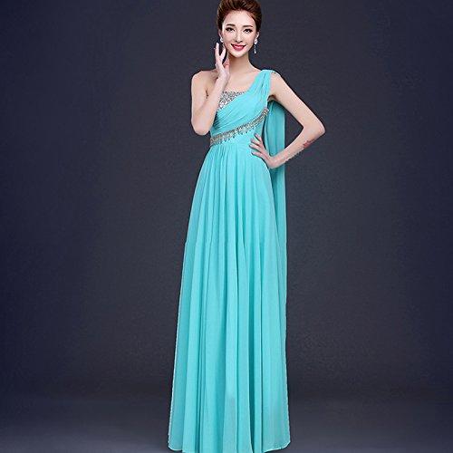 JKJHAH Abendkleider Tanz Bankett-Kleider Braut Rotes Kleid, Eisblau, L