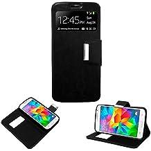 Donkeyphone 599371031 - flip cover negra para samsung galaxy core prime g360 funda con ventana, tapa, apertura libro, cierre con iman y soporte