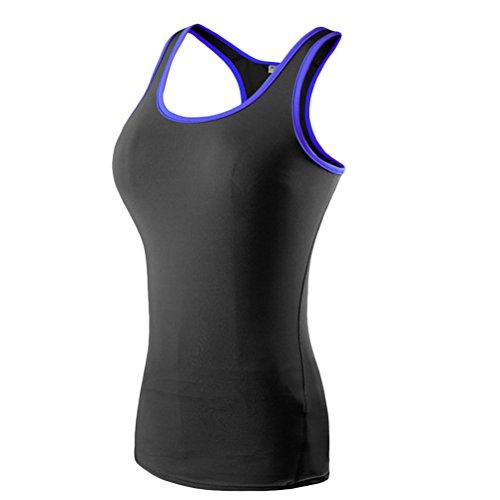 Zhuhaitf Sleeveless Breathable Quick Dry Women Tank Top Outdoor Sports Fitness Running Slim Yoga Shirt Vest Black&Blue