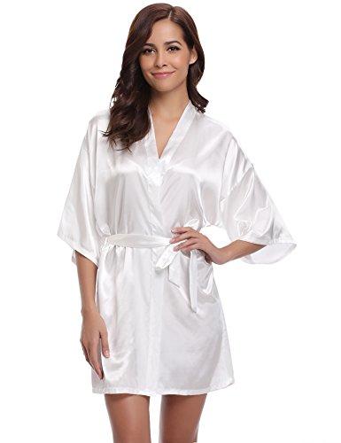 Aibrou Peignoir Satin Robe de Chambre Kimono Femme Sortie de Bain Nuisette Déshabillé Vêtements de Nuit Femme Satin Lingerie Dentelle Peignoir Robes de Ma
