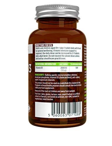 Vitamina D3 Colecalciferol 2000IU de Pure Essentials suministro diario para un año 365 tabletas pequeñas