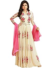 Divyansh Boutique Women's Semi-Stitched Georgette Anarkali Salwar Suit Set (White With Pink)