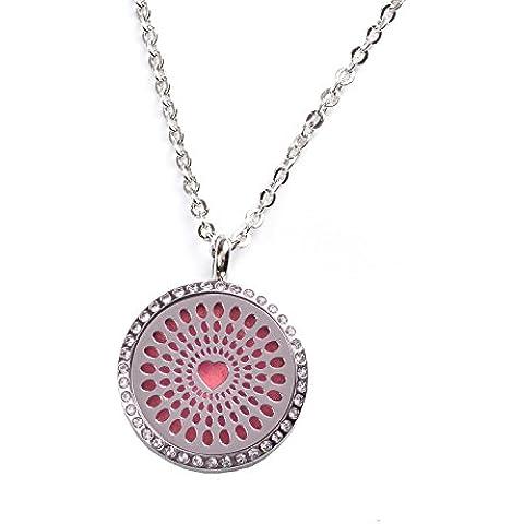 M. JVisun Diffusore di Oli Essenziali a forma di cuore collana di diamanti ciondolo, Hollow Out acciaio anallergico aromatico Relax regalo + catena + 7colori, Rotondo, 24dischi Pads - Diamante Toggle Bracelet