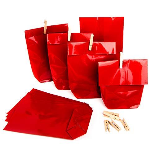 Set di sacchetti di carta natalizi, 14 x 22 x 5,5 cm, colore: rosso + mollette di legno, rot, 50 pezzi
