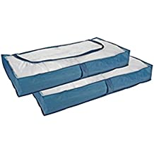 COM-Four 2cómodas para debajo de la cama, color Azul, con cremallera y asidero, 103x 45x16cm