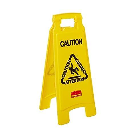 Rubbermaid Commercial Products FG611200YEL Signalisation de Sol Double Face avec Mention «Caution/Wet Floor» (Attention, Sol