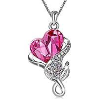 Collana da donna con pendente Cristallo Austriaco Ciondolo a forma di Rosa Ciondolo di cuore rosa chiaro trasparente Placcata oro bianco Catena Collana Carina