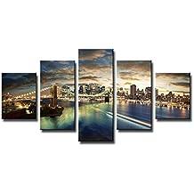 160 x 80 cm Bild auf Leinwand New York USA 5562-SCT deutsche Marke und Lager - Die Bilder / das Wandbild / der Kunstdruck ist fertig gerahmt