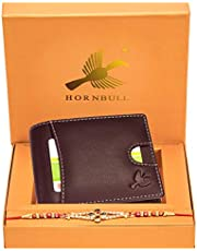 HORNBULL Rakhi Gift Hamper for Brother - Brighton Brown Men's Leather Wallet and Rakhi Combo Gift Set for Brother