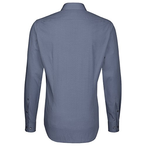 Seidensticker -  Camicia classiche  - A quadri - Classico  - Uomo blau Print (0018)