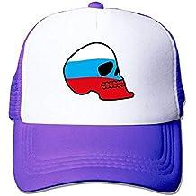 Liumiang Sombreros Gorras de béisbol,Breathable Russian Flag Skull Mesh Trucker Caps/Hats Adjustable