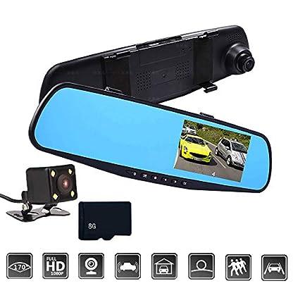 Lifemaison-Spiegel-Autokamera-Dashcam-Set-Dual-und-Doppel-Kamera-120-Weitwinkel-mit-Nachtsicht-PVC-43-Zoll-Touch-Screen-1080P-G-Sensor-Parkmodus