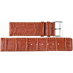 Light Brown Leather Watch Strap 24 MM Imperial Watches Leather Watch Strap 24 MM Buckle: White
