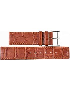 24 mm KAISER Uhren Lederband Uhrenarmband Lederuhrband Hellbraun 24 mm Schliesse: weiss