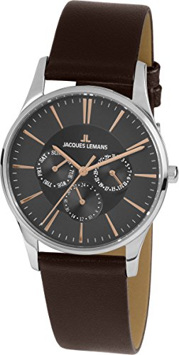 Jacques Lemans Unisex Quartz Watch Analogue Display and Leather Strap 1-1929E