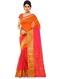 Kvsfab Women's Cotton Silk Saree,Orange & Pink