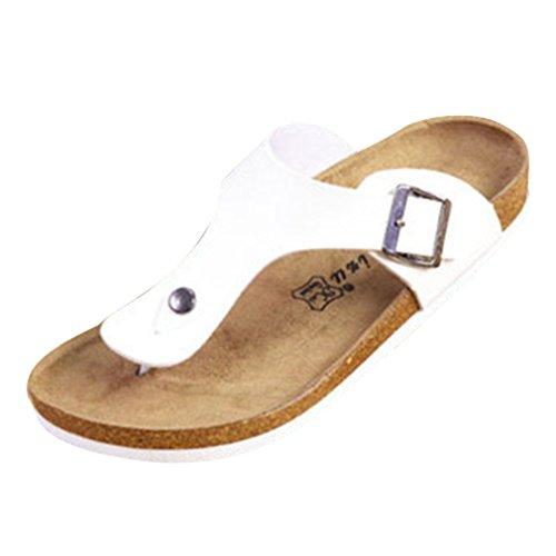 Hombre Mujer Sandalias de Suela Baja Zapatos de Baño Corcho Sandalias de Playa Antideslizantes Unisexo Zapatos de Verano Chanclas Negro Blanco 35-45 Juleya