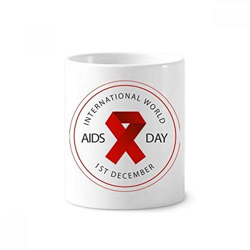 DIYthinker Red Ribbon-AIDS-Tag HIV-Bewusstsein Solidarität Keramik Zahnbürste Stifthalter Tasse Weiß Cup 350ml Geschenk 9.6cm x 8.2cm hoch Durchmesser -