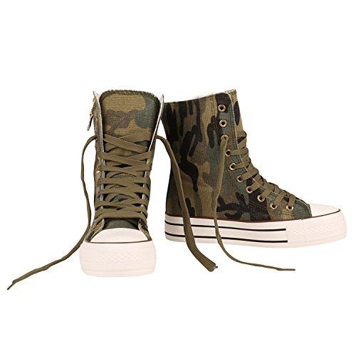 Damen Sneakers High   Zipper Camouflage Boots   Sneaker Stiefel Denim   Schnürstiefeletten Camouflage Zipper