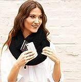 ZBYLL Frauen Schal Mode Winter schwarz mit Tasche Cabrio Schals Pocket Match Reise Scaves