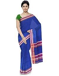Aadi Handloom Maheshwar Maheshwari Handloom Cotton & Silk Saree (Blue)