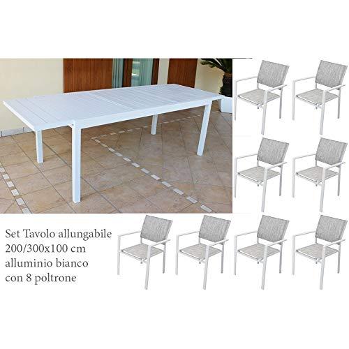 Set Tavolo Giardino Allungabile Rettangolare 200/300 x 100 Con 8 Poltrone In Alluminio Bianco Da Esterno giardino