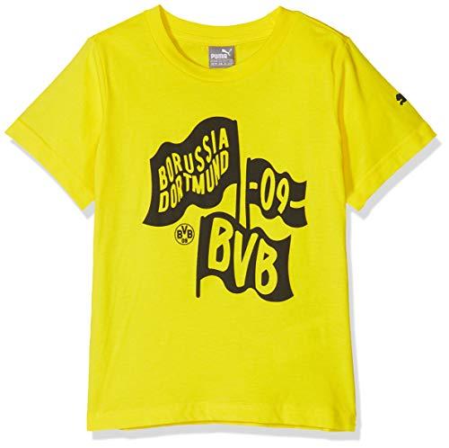 Puma Kinder BVB Fanwear Kids Tee 2 Jr T-Shirt, Cyber Yellow, 176