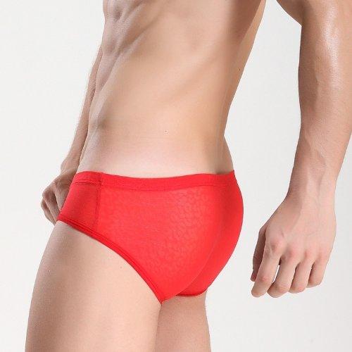Demarkt Sexy Maillot de bain Transparent/ Poche Boxer Trunk Short / Pantalon Court Homme en Voile Faconne- Couleur Noir - Taille S/M/L Rouge