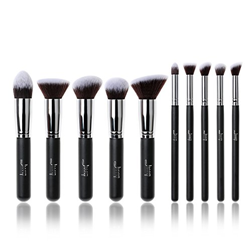 Jessup 100 schwarz/silber Professional Liquid Kabuki-Pinsel Foundation Blush Make-up-Pinsel Set...