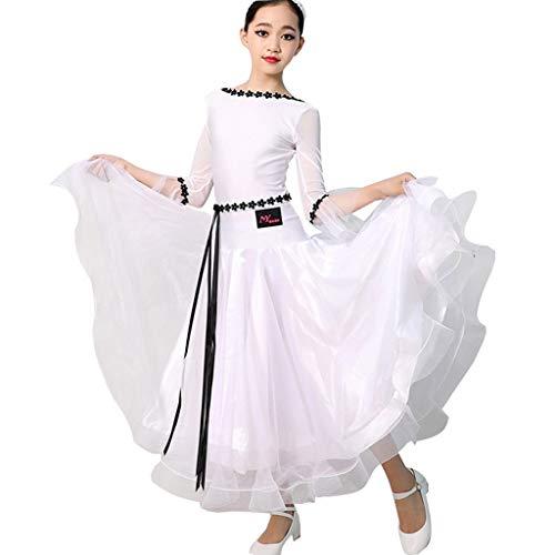 Dance Muster Square Kostüm - CX Hochschulwind-Modern-Dance-Kleid for Kinder, Einfaches Tanzkostüm for Tanzübungen Im Walzerballsaal (Color : White, Size : S)