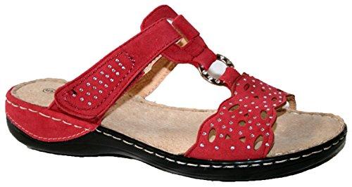 Femmes Sandales Été by coussin walk. Ajustement confortable avec lanière velcro Red Mule