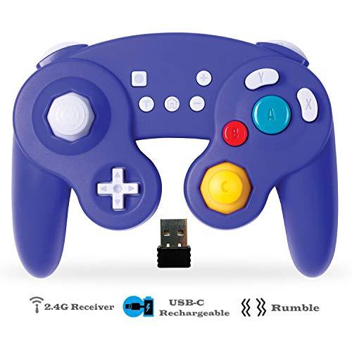 EXLENE Wireless Controller Gamepad für Nintendo Switch, Wiederaufladbar, Kompatibel mit PC/PS3, GameCube Stil, Motion controls, Rumble, Turbo (Blau) (Ps3 Motion Control Mit)