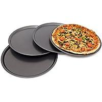 Relaxdays - Bandejas para Pizza, Material: Acero Carbono, Tamaño : 33 x 33 x 1 cm, 0.3 Kg