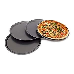 Relaxdays rundes Pizzablech, Backblech 4er Set, Backset aus beschichtetem Carbonstahl, Pizza & Flammkuchen, 33cm Ø, grau