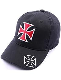 Casquette Croix de malte noir et rouge - Mixte