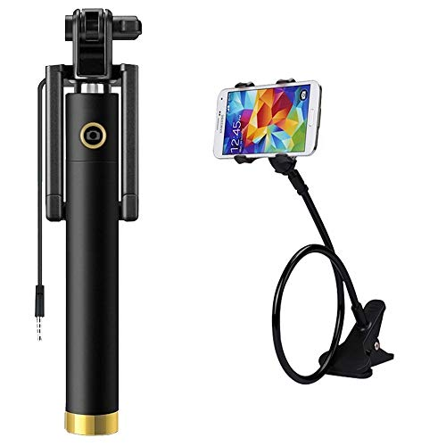 Lambent Pocket Sized/Light Weight/Compact Locust Selfie Stick with Flexible and Foldable 360 Degree Lazy Stand Mobile Holder for All iOS & Android Smartphones