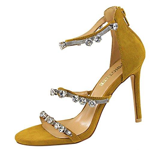 Saltos De Metal Corrente De Strass Aberto Toe Stiletto Sandálias Oasap Das Mulheres Amarelo