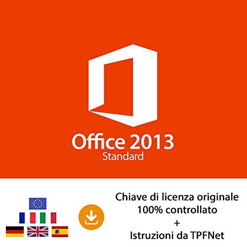 MS Office 2013 Standard 32 bit e 64 bit - Chiave di Licenza Originale per Posta e E-Mail + Guida di TPFNet - Spedizione max. 60min