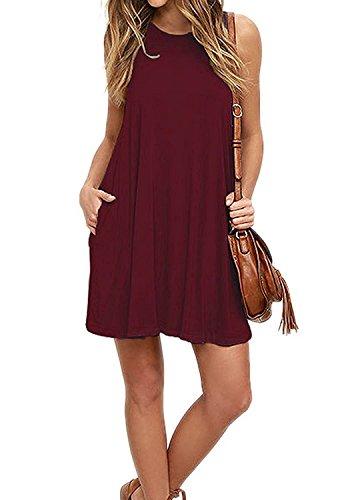 VIISHOW Frauen Langarm Casual Loose T-Shirt Kleid Weinrot