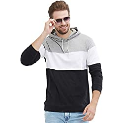 LEWEL Men's Stylish, Young & Trendy Hooded Black, Grey, White Full Sleeve T-Shirt (100% Cotton Bio Washed)