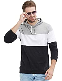 LEWEL Men's Stylish Full Sleeve Grey, White, Black Hooded T-Shirt (100% Cotton, Bio-Washed)