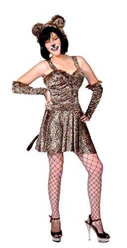 Karneval-Klamotten Leoparden Leopardin Raubkatze Wild-Katze Kostüm Damen sexy Tierkostüme Kleid inkl. Haarreif Leoparden-Ohren Armstulpen Größe 34