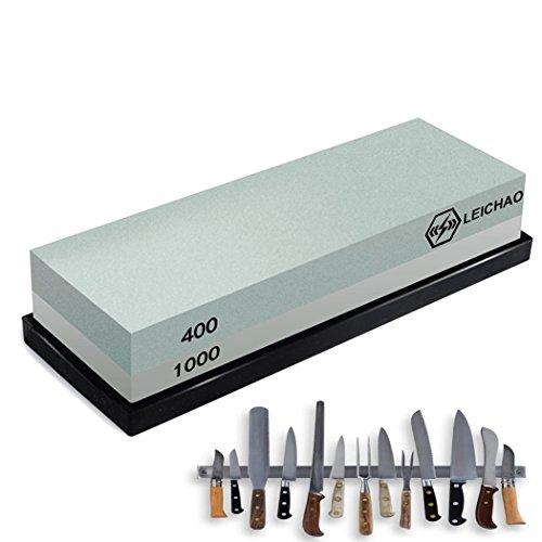 LEICHAO Abziehsteine für Messer Wetzstein Körnung 400/1000 mit Rutschfestem Silikonhalter (Körnung 400/1000)